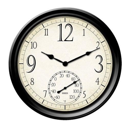 "14"" Decorative Wall Clock & Thermometer"