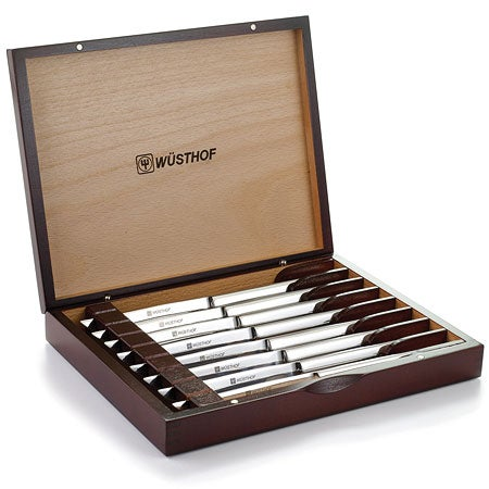 8 Piece Stainless Steel Steak Knife Set w/ Wooden Gift Box