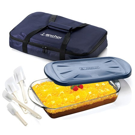 3 Pc Sculpted Ovenware Set with Tote Bag