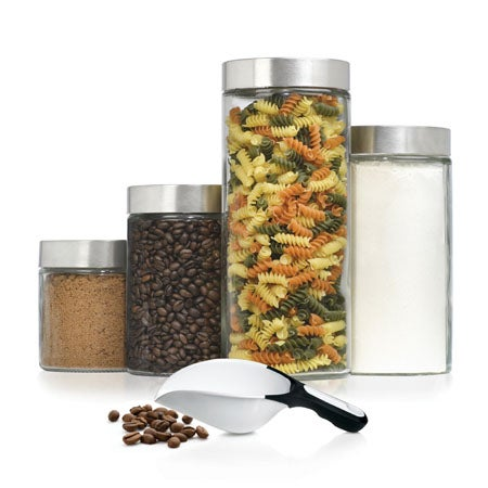 4 Pc Glass Cannister Set with Scoop
