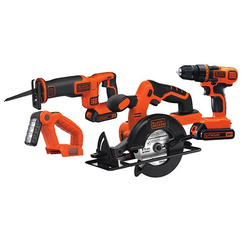 20V Max DIY 4 Tool Kit - Drill/Driver, Circ Saw, Recip Saw, Work Light