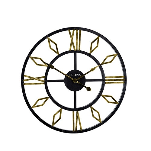 Diamond Gallery Metal Wall Clock, Black/Gold
