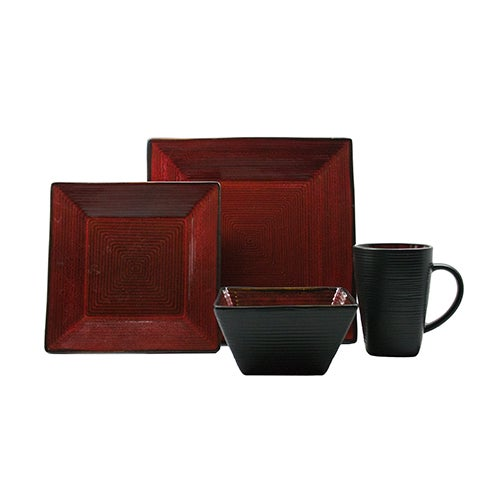 Adriatic 16-Piece Dinnerware Set, Red