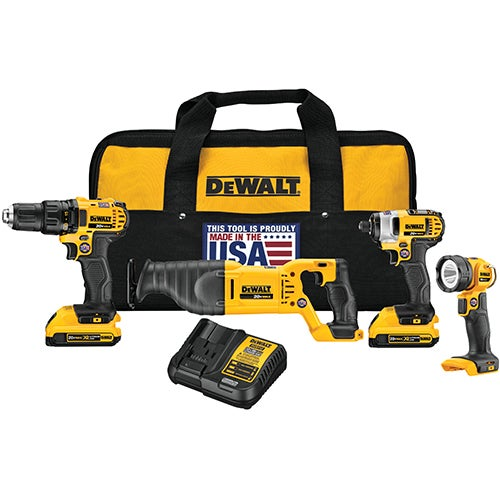 20V MAX 4-Tool Combo Kit - Drill/Driver, Impact, Recip Saw, Worklight