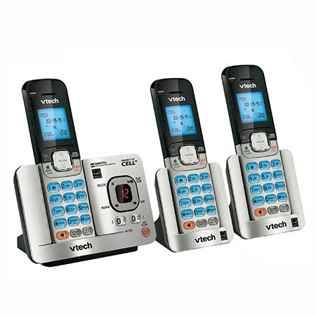 Connect-to-Cell Phone System w/Answering Device - 3 Handsets