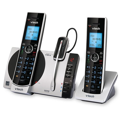 2 Handset Connect To Cell Answering System w/ Cordless Headset