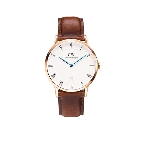 Dapper St Mawes 38mm Rose Gold Watch w/ Brown Leather Strap