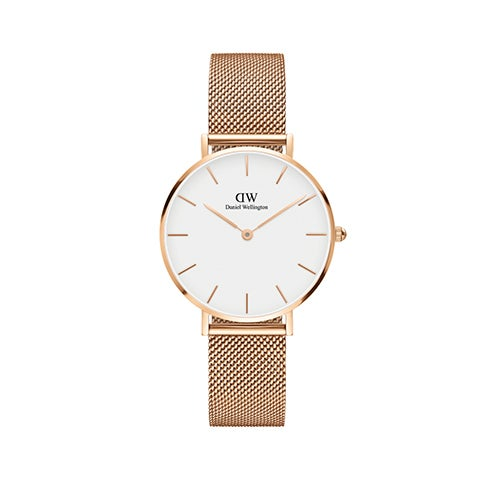Classic Petite White Melrose 32mm Rose Gold Watch w/ Rose Gold Mesh Strap
