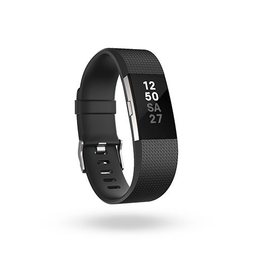 Charge 2 Heart Rate + Fitness Wristband, Black/Silver - Large