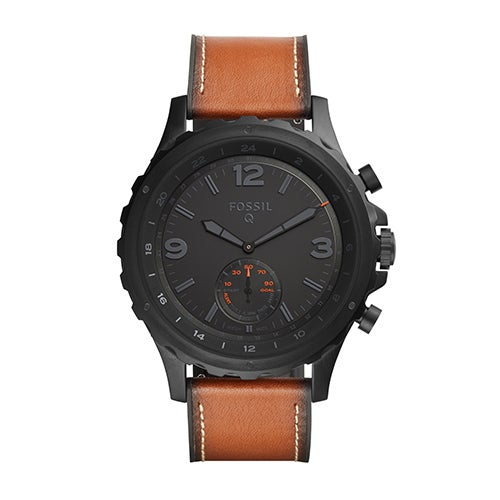 Mens Fossil Q Nate Hybrid Smartwatch, Brown Leather Strap/Black Dial