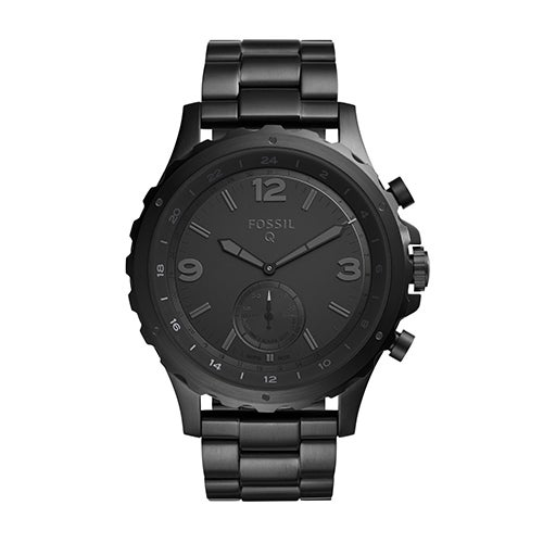 Mens Fossil Q Nate Hybrid Smartwatch, Black Stainless Steel