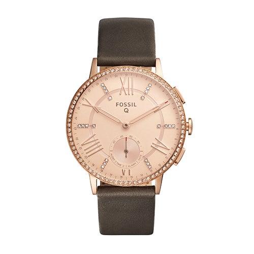 Ladies Fossil Q Gazer Hybrid Smartwatch, Gray Leather Strap/Crystal Accents