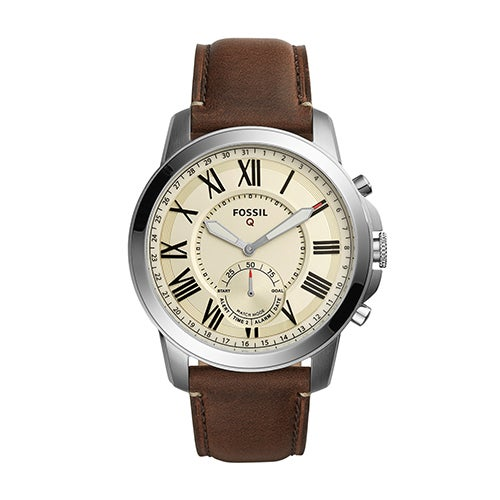 Mens Fossil Q Grant Hybrid Smarwatch, Dark Brown Leather Strap/Ivory Dial