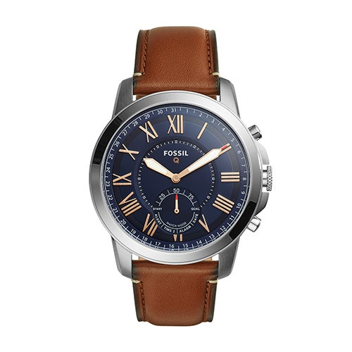 Mens Fossil Q Grant Hybrid Smarwatch, Brown Leather Strap/Navy Dial