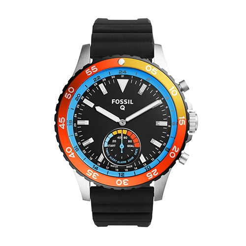 Mens Fossil Q Crewmaster Hybrid Smartwatch, Black Silicone Strap & Dial