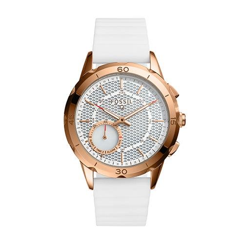 Ladies Fossil Q Modern Pursuit Hybrid Smartwatch, White Silicone Strap