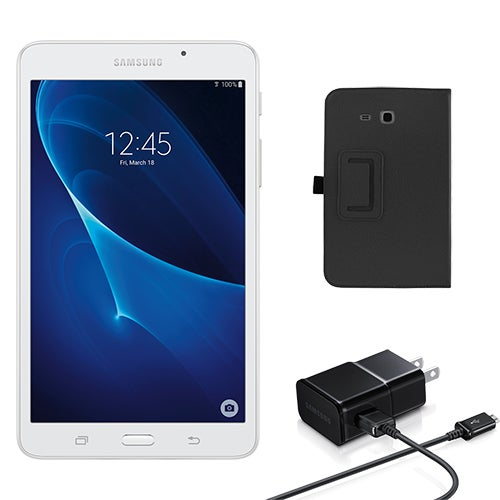 Galaxy Tab A 7.0 8GB, White w/ Cover and Travel Charger