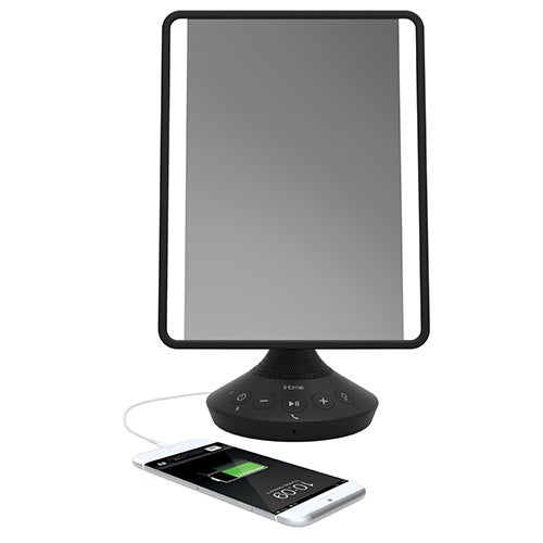 Flat Panel Vanity Mirror w/ Bluetooth Audio and USB Charging, Black