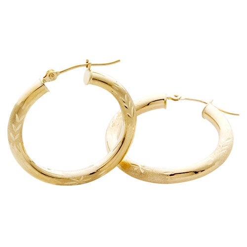 25mm Diamond Cut 14k Yellow Gold Hoop Earrings Je203