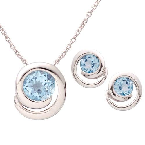 Silver Swirl Blue Topaz Earring Necklace Set