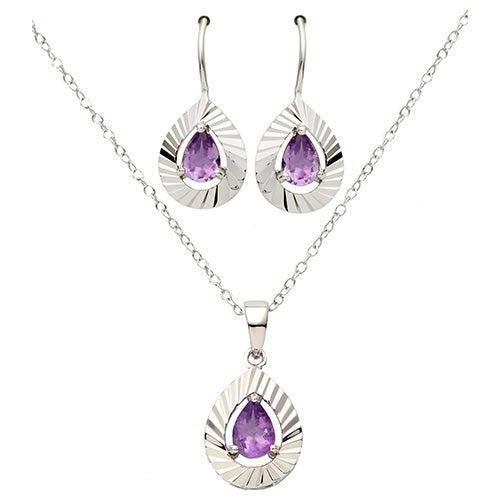 Pear Shaped Purple Amethyst Necklace Earring Set