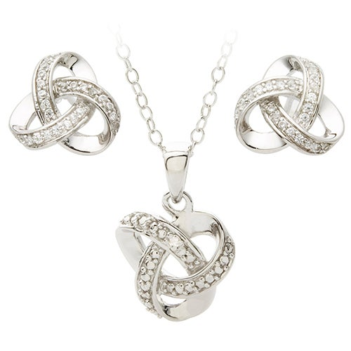 Diamond Love Knot Earring Necklace Set