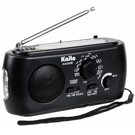 Solar/Crank Dynamo Radio with Flashlight, Black