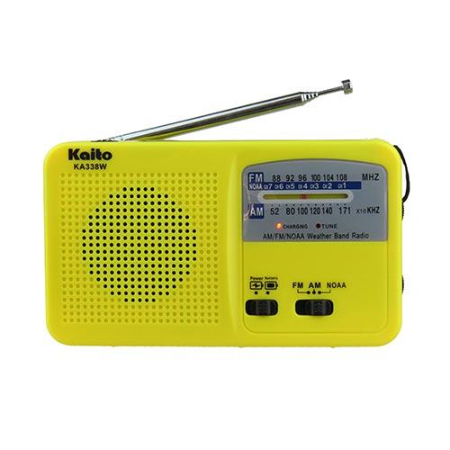 Emergency Hand Crank AM/FM NOAA Radio w/ Flashlight, Yellow
