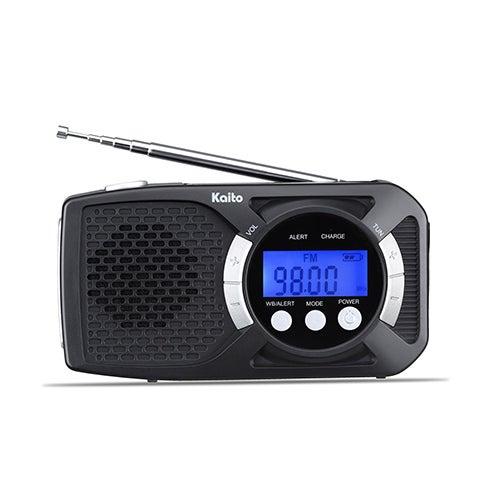Digital Solar Crank Radio w/ Charger & Flashlight, Black/Silver