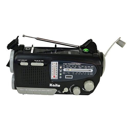 4-Way Powered Solar Crank Radio w/ Light, Siren, Compass & Thermometer