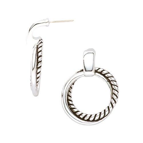 Silver Twisted Link Door Knocker Earrings