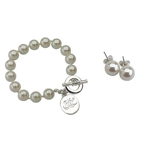 2-Piece Pearl Bracelet & Earrings