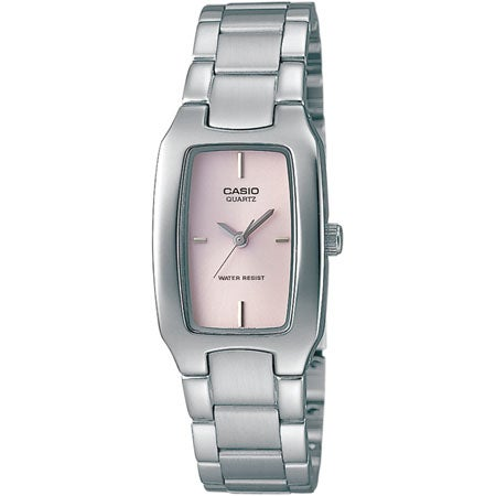 Ladies Silver-tone Stainless Steel Watch, Pink Rectangle Dial