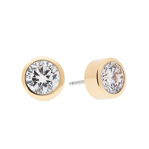 Cubic Zirconia Gold-Tone Stud Earrings