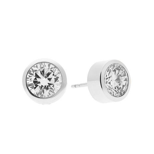 Cubic Zirconia Silver-Tone Stud Earrings