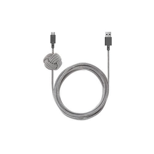 10ft NIGHT Cable, USB Type-A to Type-C, Zebra
