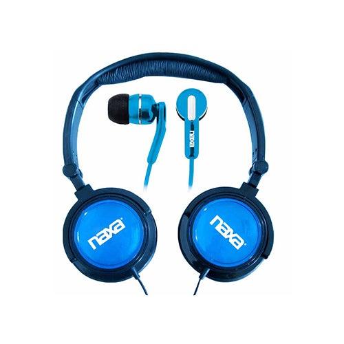 2-in-1 Combo Super Bass Headphones/Earphones, Blue