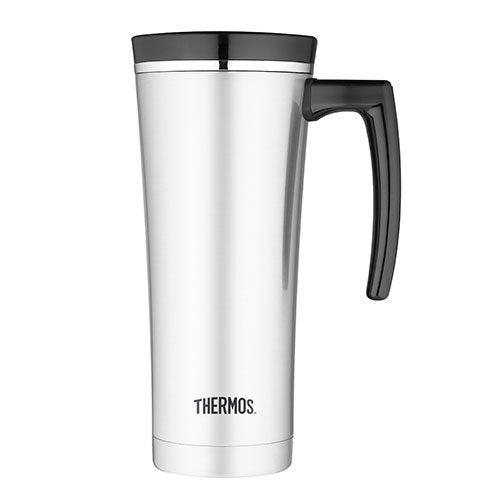 Vacuum Insulated 16oz Stainles Steel Travel Mug w/ Handle