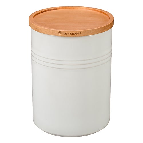 22oz Stoneware Storage Canister w/ Wood Lid, White
