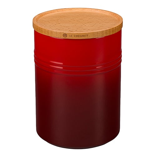22oz Stoneware Storage Canister w/ Wood Lid, Cherry