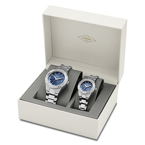His And Hers Watch Sets >> His Hers Fossil Gift Set Large Small Blue Watches