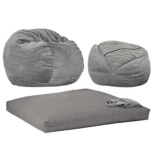 Queen Size Convertible Chenille Sleeper Chair, Charcoal