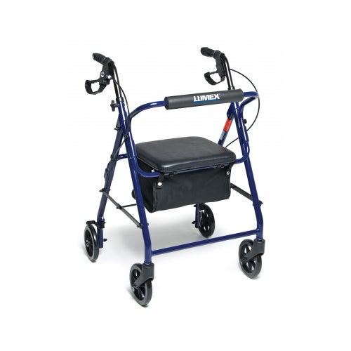 Walkabout Basic Four Wheel Rollator, Blue