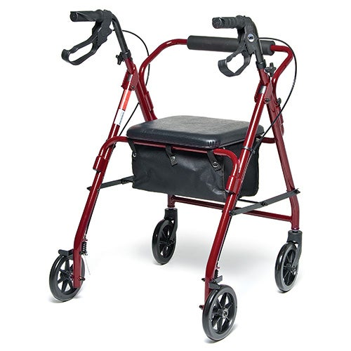 Walkabout Basic Four Wheel Rollator, Red