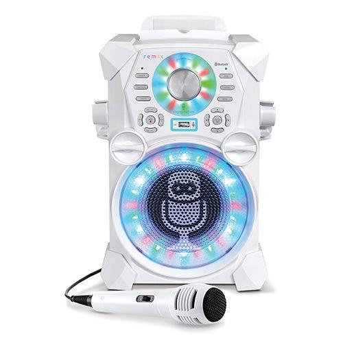 HD Karaoke System with LED Disco Lights, White