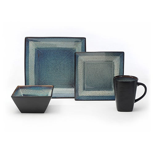 Adriatic Blue Square 16-Piece Dinnerware Set