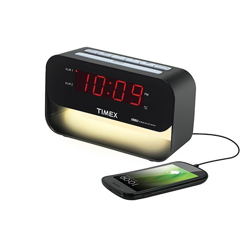 Dual Alarm Clock with USB Charging and Night Light