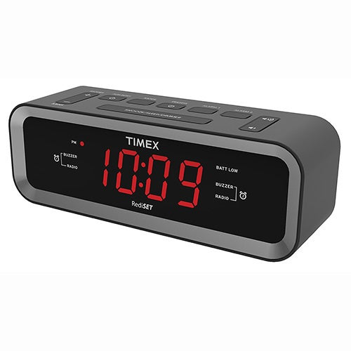 AM/FM Dual Alarm Clock Radio w/ USB Charging