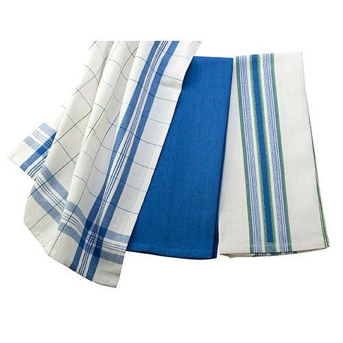 Set of 3 Kitchen Towels, Cobalt