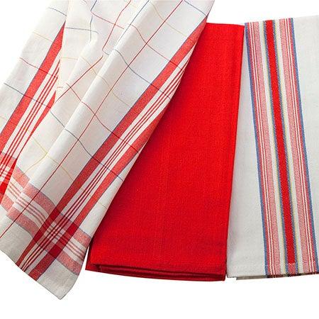 Set of 3 Kitchen Towels, Cherry